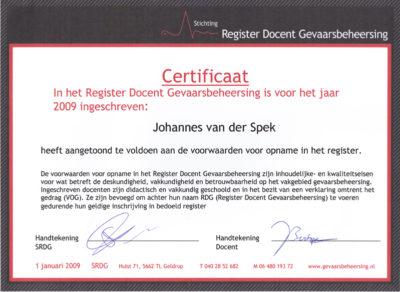 Certificaat 'Gevaarsbeheersing'
