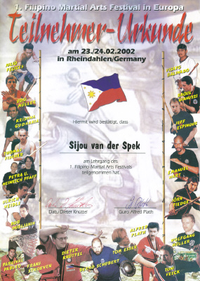 Certificaat Filipino Martial Arts Festival (Germany)