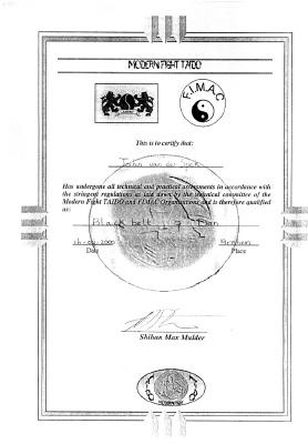 Certificaat Black Belt 7th Dan - Modern Fight TAIDO