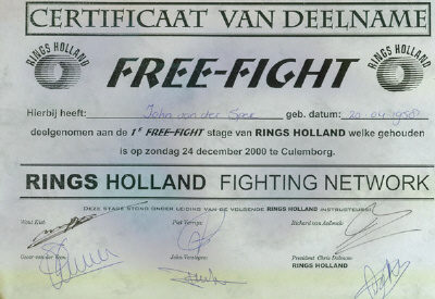 Certificaat Deelname 1e stage Freefight (Rings Holland)