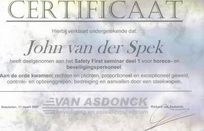 Certificaat horeca- en beveiligingspersoneel