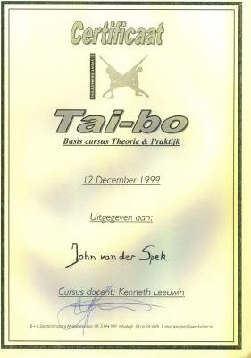 Certificaat Tae-bo (basis cursus theorie & praktijk)