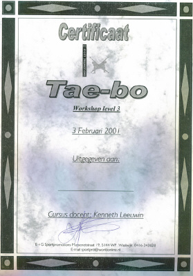 Certificaat Tae-bo (workshop level 3)