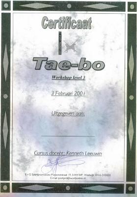 Certificaat Tae-bo (workshop level 3)
