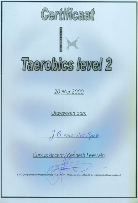 Certificaat Taerobics level 2