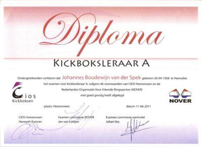 CIOS Diploma Kickboksleraar A