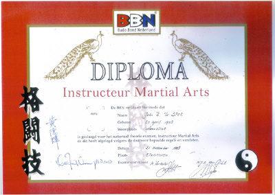 Diploma Instructeur Martial Arts