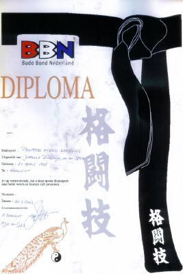 Diploma BBN (Budo Bond Nederland)