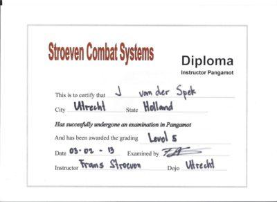 Diploma vijfde level in het Pangamot