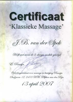 Certificaat Klassieke Massage