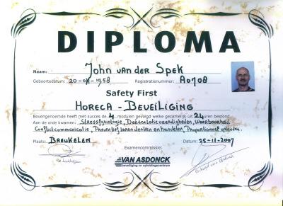 Diploma Horeca Beveiliging