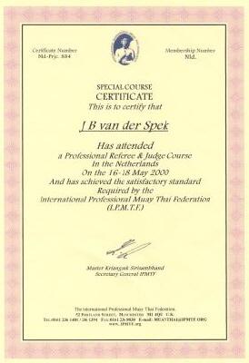 Certificaat Referee Muay Thai